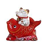 Gvuha Chinese Feng Shui White Ceramic Lucky Cat Figure Maneki Neko Fortune Cat Money Box Lucky Charm Piggy Bank Cat and Fish,Red