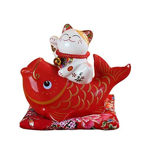 Maneki Neko Glückskatze Glücksbringer Spardose aus Porzellan Katze und Fisch,Rot