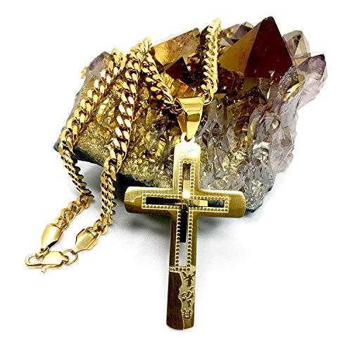 Miami Cuban Link Halsketting met kruis-hanger voor heren, dames, 18 karaat goud, met massieve sluiting, stijl