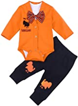 My 1st Thanksgiving Outfits Newborn Infant Baby Boy Girl Clothes Long Sleeve Romper, Turkey Pant+Cute Hat 4Pcs Set