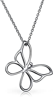 Small Open Butterfly Necklace Cut Out Dangling Pendant For Women For Teen Polished 925 Sterling Silver With Chain