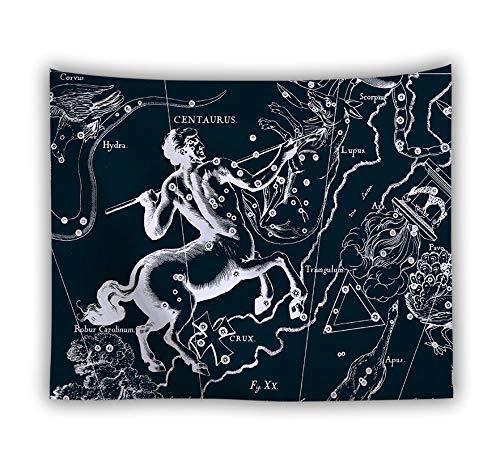 Wandteppich,An Der Wand Trippige Psychedelische Retro Sternbilder Centaurus,Größe Polyester Art Decor Drucken Stoff Wandteppiche Für Wohnzimmer Schlafzimmer Home Dekorationen Picknick Mat,150