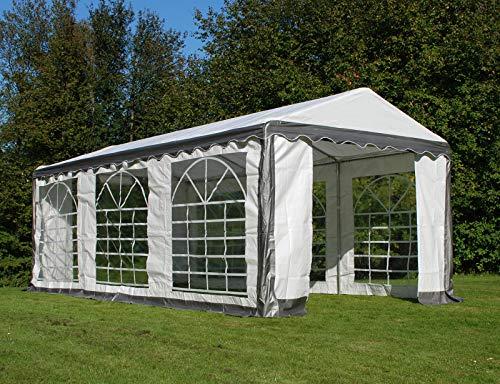 Dancover Partyzelt Pavillon Festzelt Plus 3x6m PE, Grau/Weiß