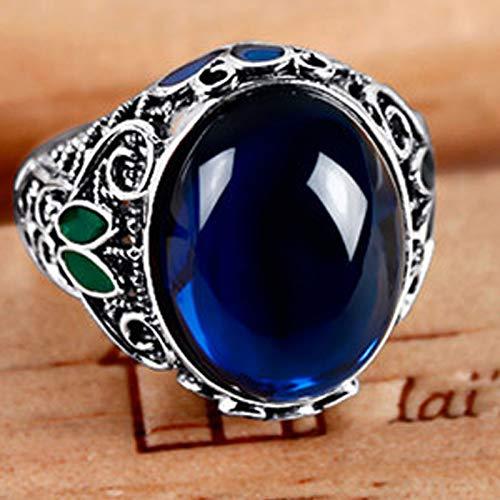 XIRENZHANG Damenring, 925er Silberring, eingelegter Saphirring, weibliche Cloisonne Retro Silber Ornament Ethnische Art (13# - 20#) blue-17#