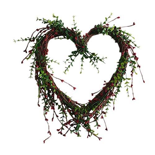 Chenso Corona de primavera con flores artificiales en forma de corazón, bayas y corona de primavera al aire libre para la puerta de la casa, pared, ventana, fiesta, decoración de boda