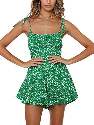 Jeanewpole1 Womens Floral Print Pleated Spaghetti Strap Rompers Cute Ruffle Summer Short Jumpsuit Playsuit Green