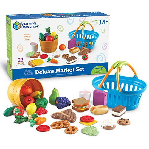 Learning Resources New Sprouts Deluxe Market Set, Pretend Play Food, Grocery Play Toy, 32 Piece Set, Toy Food, Ages 2+