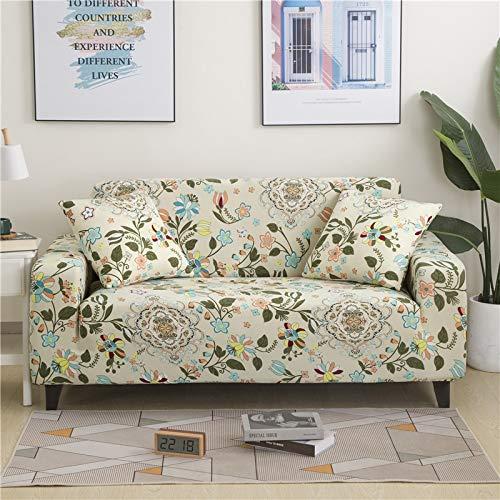 PPMP Funda de sofá elástica Floral Fundas de sofá para Sala de Estar Protector de Muebles de poliéster Fundas Funda de sofá A10 4 plazas