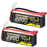 POVWAY 2200mAh 11.1V 3S 100C Soft case Lipo Battery with Deans T Connectorfor RC Evader BX Car RC Truggy RC Truck RC Airplane Helicopter Drone (Two Pack)