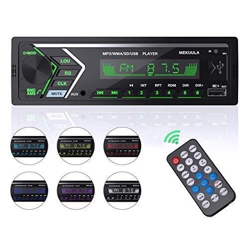 Autoradio Bluetooth, Radio de Coche, 7 Colores Manos Libres Radio Estéreo de Coche, Apoyo de Reproductor MP3/ WMA/FLAC/Disco U/AUX/USB/TF/SD/Carga rápida/Control Remoto, Reloj de visualización