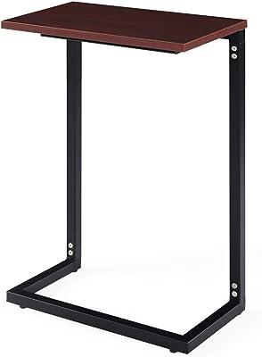 Sunon サイドテーブル スチール 木目調 組立式 耐荷重50KG クルミ色
