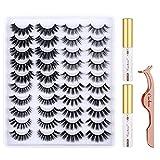 Cuckoo Faux Mink Eyelashes Pack,20 Pairs 3D Faux Mink Lashes with 2pc Eyelash Glue and Applicator Tool Kit,Long Dramatic False Eyelashes for Women,Fluffy Fake Eyelashes Natural Look