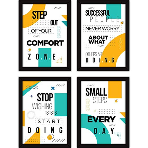 Modernart Motivational Quotes Photo Frames for Office, Home Decor and Living Room - (Set of 4 A4 Size Frames, Glass in Front)