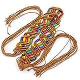 1pc Mujeres Del Estilo Bohemio Retro Cinturones Cuerda De La Cera De Moda Niñas Trenzado De La Borla De La Correa De Cintura Conveniente Para Vestido De Señoras