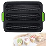 Silicone Baguette Pan,Nonstick 3 Wave Loaves French Toast Bread Baking Tray Bake Mold, Perforated Silicone Molds Loaf Pan, DIY Making Breadstick Cake Kitchen Baking Mould