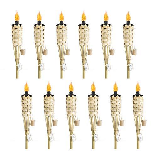 "DikaSun Bamboo Torch Classic Weave, Halloween Decorations Fiberglass Wicks (12oz) Metal Canisters for Longer Lasting Burn, (59"" - 12 pack, Primary)"