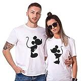 Minnie Mikey Shirt Coton Couples Tees Shirts pour Amoureux Shirt Impression Mignon Tops 2 Pièces à Manches Courtes Anniversaire Cadeau Disney Casual Été(Blanc,Bestfriend, Homme-S+Femme-S)