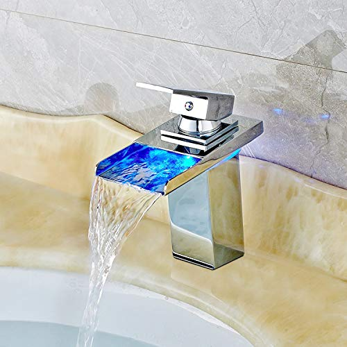 Robinet led 3 Changement de couleur RVB Square Robinet de lavabo mitigeur monocommande niederdruck Mitigeur de lavabo cascade pour salle de bains, taille: 17,5 x 16 x 5 cm