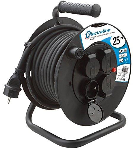 Electraline 20868128D Rallonge Prolongateur électrique IP44 Profesionnelle 25 m avec enrouleur Noir - Section 3G2,5 mm²