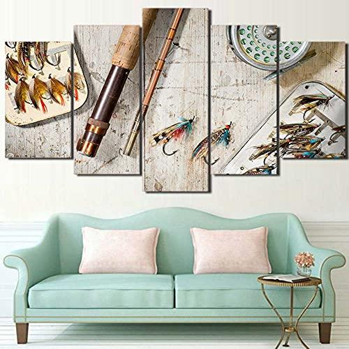 KOPASD 5 Piezas Decor Salon Murales Rodilla de Pesca con Mosca rústica Pasillo Decor Arte Pared Enmarcado HD Impresión Regalo (Enmarcado Tamaño 200x100cm)