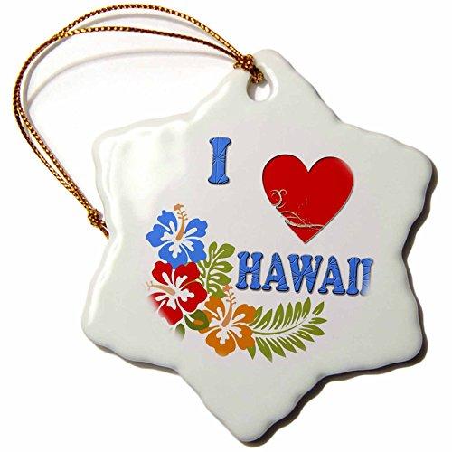 3dRose 'I Love Hawaii Hawaiian Flowers Honolulu Maui Oahu Popular Saying' Snowflake Ornament, Multi-Colour, 3-Inch