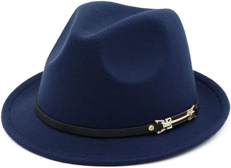 HHHCM-US Now free shipping Men Women Fedora Hat with Brim Charlotte Mall Pop Leather Wide Belt Ja