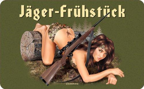 empireposter Jäger Frühstück - Resopal Brettchen - Frühstücksbrettchen Resopal lebensmittelecht - 14,2x23,3 cm