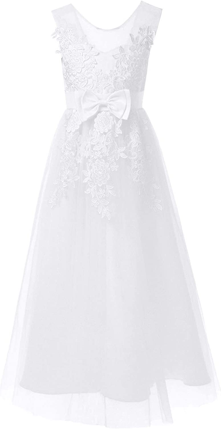 YOOJIA Kids Girl Floral Embroidered Special Occasion Dresses Lace Princess Dress Mesh Tutu Prom Ball Gowns Pageant