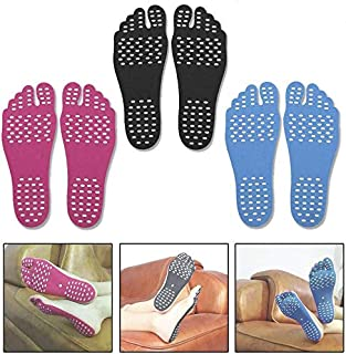 Beach Pads Barefoot,3 Pairs Beachfoot Socks Adhesive Foot Pads, Invisible Shoes Stick on Soles, Men Women and Kids Foot St...