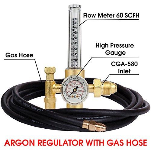 MANATEE Argon Regulator TIG Welder MIG Welding CO2 Flowmeter 10 to 60 CFH - 0 to 4000 psi pressure gauge CGA580 inlet Connection Gas Welder Welding Regulator More Accurate Gas Metering Delivery System