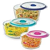 Décor Glass Container- 500 ml, 750 ml & 1.5 Litres, 3 Pieces, Multicolor