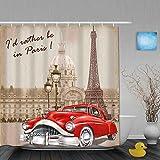 USOPHIA Cortina de baño Repelente al Agua,Francia Paris Vintage Retro Fondo,Cortinas de baño de poliéster de diseño 3D con 12 Ganchos