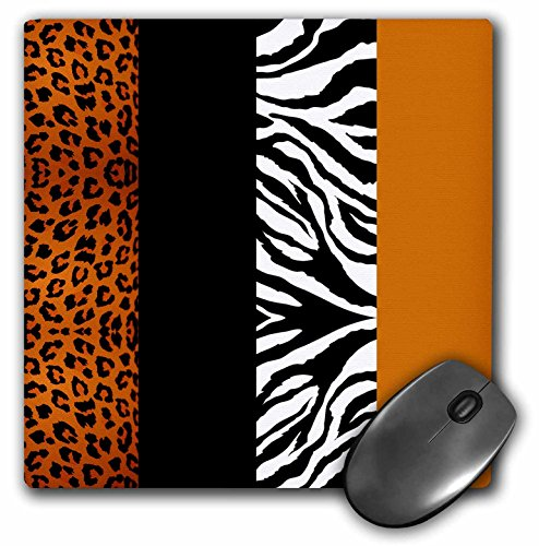 3dRose LLC 8 x 8 x 0.25 Inches Mouse Pad, Orange/Black/White Animal Print Leopard and Zebra (mp_35442_1)