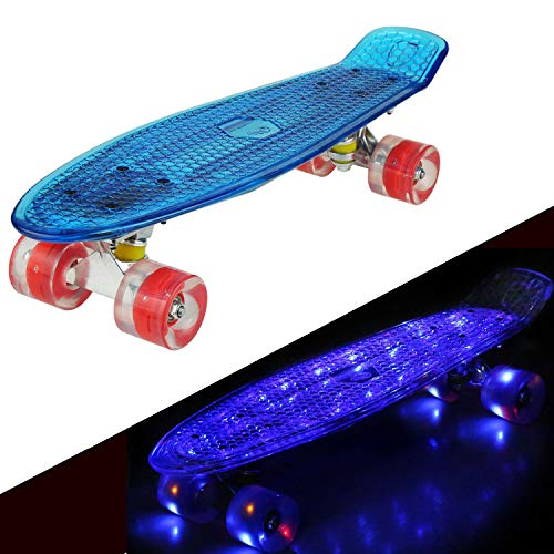 57cm Mini Cruiser Retro Skateboard Komplettboard Vintage Skate Board mit Kunststoff Deck und blinkenden LED-Rollen (Blau Deck mit LED/Rot Rollen mit Led)