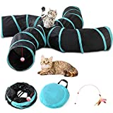 Yinghe Cat Tunnel - Collapsible 3 Way Pet Tunnel with Interactive Ball & Feather Wand - Pet Toy Tube Fun for Rabbits, Kittens, Cats, and Dogs