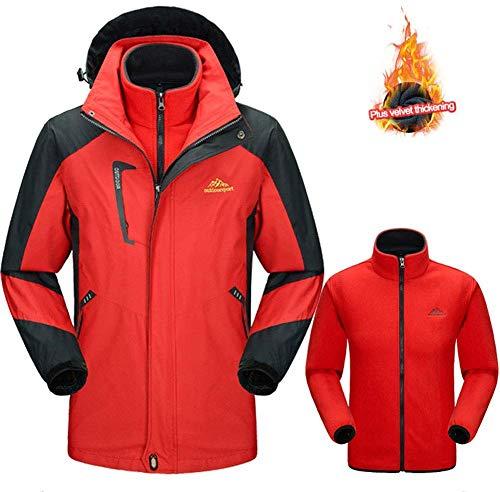 YJF-JK 3-en-1 de la Chaqueta de esquí de los Hombres de Impermeable con Capucha Desmontable Snowboard Abrigos con Fleece Liner Chaqueta de esquí,Rojo,4XL