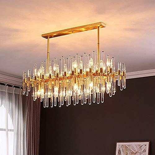 ZXJUAN stijl kristal eenvoudige geometrische lampenlicht roestvrij staal woonkamer slaapkamer lamp LED hanger goud 100 * 40 * 70 cm