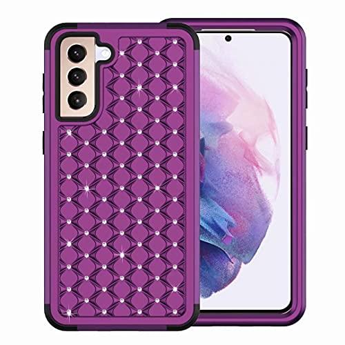 Funda para iPhone 12 Pro Max, compatible con iPhone 12 Pro Max, con purpurina, brillante, para niñas, ultrafina, antigolpes, antideslizante, de silicona, color morado y negro