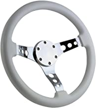 350mm Chrome Marine Boat Steering Wheel with White Grip and Horn Cover Plate