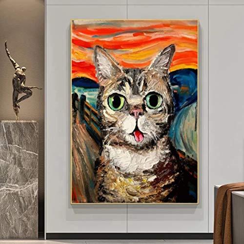 Danjiao The Scream Berühmte Gemälde Fat Cat Art Leinwandbilder Poster Und Drucke Wandkunst Bilder Für Wohnzimmer Dekor Cuadros Wohnzimmer 40x60cm