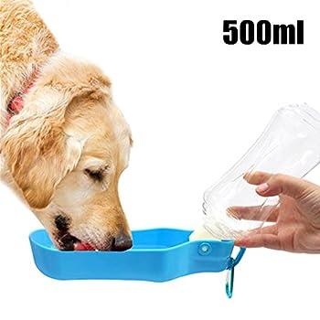 Luniquz 500ml Bouteille d'eau pour Chien Distributeur d'eau Portable avec Clip en Plastique Gourde avec Abreuvoir pour Chien Chiot Chat(Bleu)