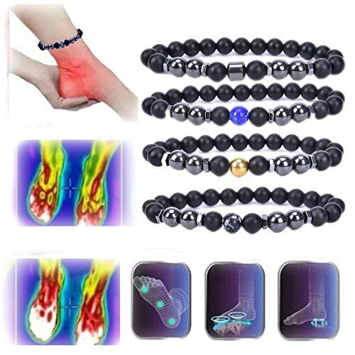 LINPING Tobillera de obsidiana Negra antiinflamatoria, Tobillera de pérdida de Peso con imán Ajustable para Hombres y Mujeres (5 Colores)