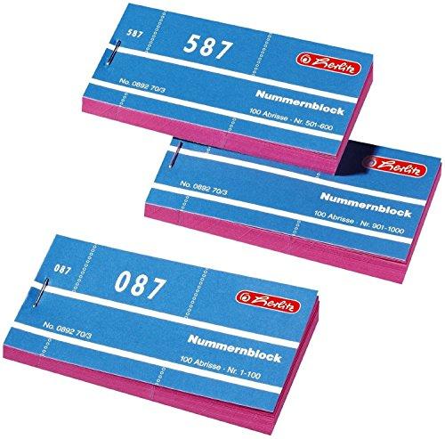 Herlitz 892703 Nummernblöcke 1-1000 Nummer 1-1000 10x100 Abrisse (10x100 Abrisse, rosa)
