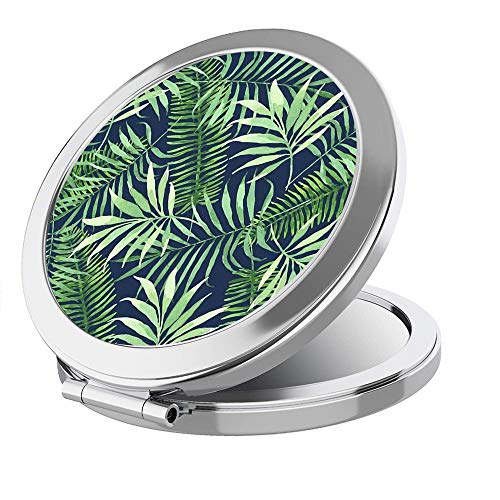 IMLONE Portable Travel Makeup Mirror- Round Sliver 2X Magnification Women Girl Gift Folding Compact Mirror Perfect for Purses/Travel -Green Plant