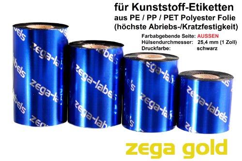 zega-labels Thermotransfer Farbband 110 mm x 300 m - zega gold (Harz Kratzfest) - Farbseite AUSSEN - für Zebra ZT-Serie/ZM400/ZD420T - 1 Zoll Kern Ø 25 mm - für PE-Folie, PP-Folie, PET Polyesterfolie