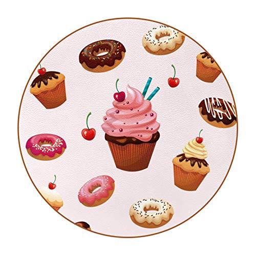 6 posavasos redondos de microfibra de piel para bebidas, posavasos decorativos para tipos de tazas y tazas, deliciosos postres donuts Cake