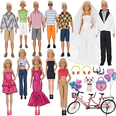 EuTengHao 30Pcs Doll Clothes and Accessories for 12 inch Boy and Girl Doll Includes 12 Set Wear Clothes Jeans and Wedding Dresses Tandem Bike Glasses Dog Bag and Colorful Balloons for 12 Inch Dolls