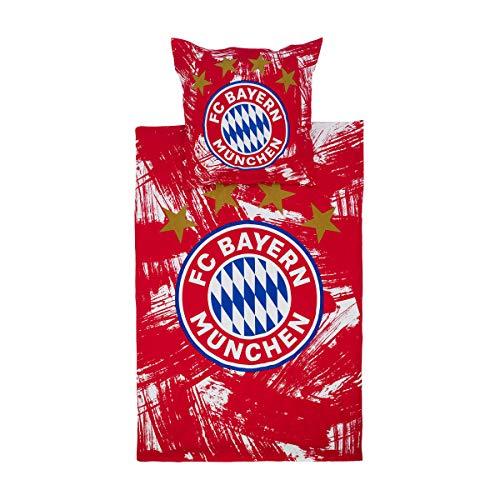 FC Bayern München Biber Bettwäsche Emblem rot/Weiss 1 Bettbezug 135 x 200 cm + 1 Kissenbezug 80 x 80 cm