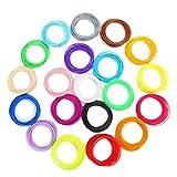 3D Pluma/Impresora Filamento Rellenar PLA - 20 Colores,Biocompatible Sin Olor, Sin Humo Bajo Punto de Fusión, 1.75mm, 10M Cada Color