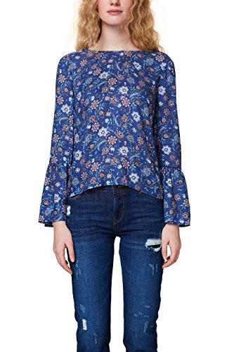 ESPRIT Damen 018EE1F001 Bluse, Mehrfarbig (Dark Blue 405), 40
